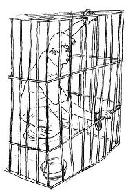 A drawing showing the type of cage in which Yu Ming was once imprisoned for three months in this way. (minghui.org)