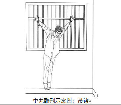 A drawing showing the torture of being hung by one's arms that Yu Ming was subjected to after the attempted escape from Masanjia Labor Camp. He was hung like this for a month. (Minghui.org)