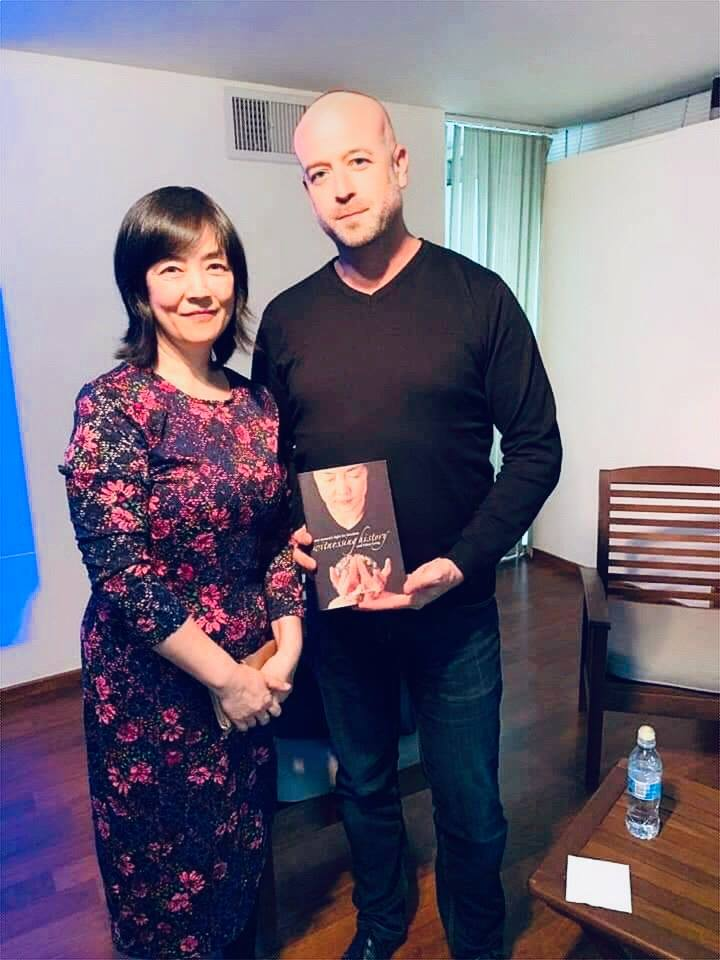 Jennifer with Avi Gruber, mayor of Ramat Hashasharon, Israel, after a successful Free China: The Courage to Believe screening in Israel on Feb 7, 2019.