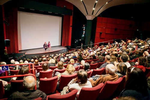 """Jennifer Zeng at the panel discussion after the screening of the movie """"Free China"""" at the Tel Aviv Cinematheque."""