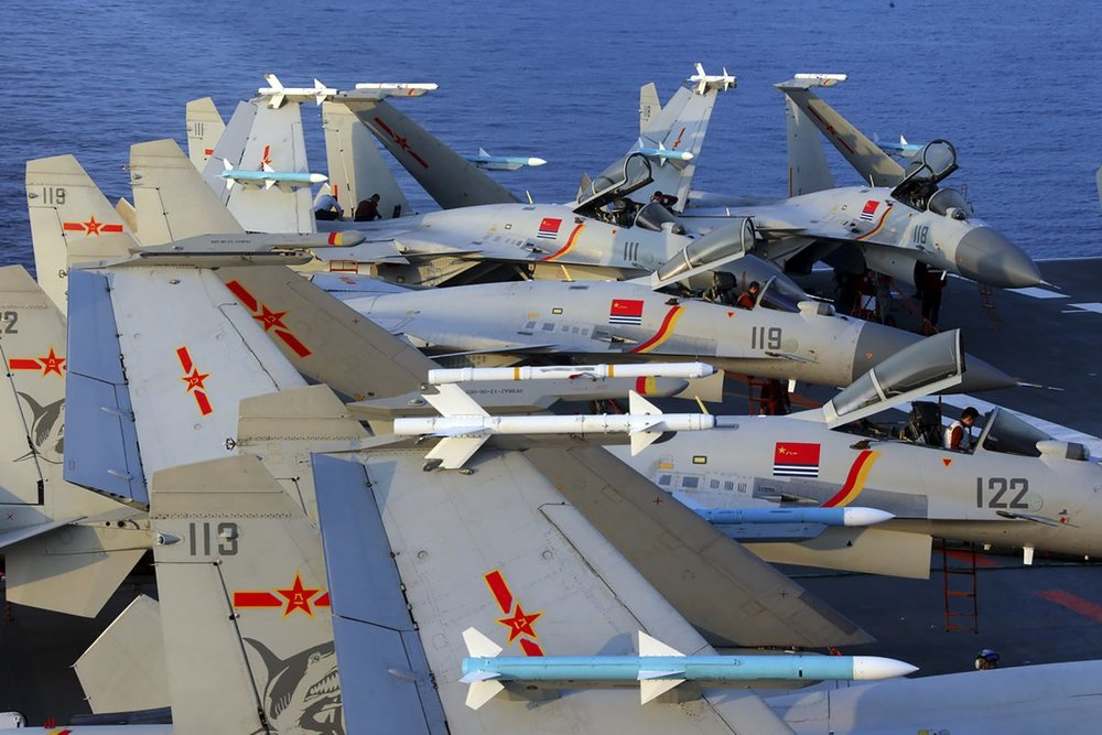 J15 fighter jets on China's sole operational aircraft carrier, the Liaoning, during a drill at sea in April 2018. (-/AFP/Getty Images)