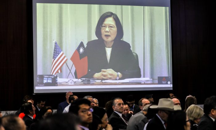 President Tsai Ing-wen of the Republic of China (Taiwan) addresses the crowd via webcam at the Center for Strategic and International Studies in Washington on April 9, 2019. (Samira Bouaou/The Epoch Times)