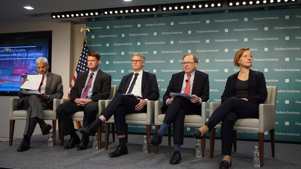 """Caption: (L to R) Ashley Tellis, Senior Fellow and Tata Chair for Strategic Affairs, Carnegie Endowment for International Peace, Randall G. Schriver, Assistant Secretary of Defense for Indo-Pacific Security Affairs, U.S. Department of Defense, Jeppe Tranholm-Mikkelsen ,Secretary-General, European Council of Ministers, Thomas J. Duesterberg, Senior Fellow, Hudson Institute, Liselotte Odgaard, Senior Fellow, Hudson Institute, at """"Caught in the Crossfire: Balancing EU relations with the U.S. and China"""" discussion at Hudson Institute in Washington on April 16, 2019. (Jennifer Zeng/The Epoch Times)"""