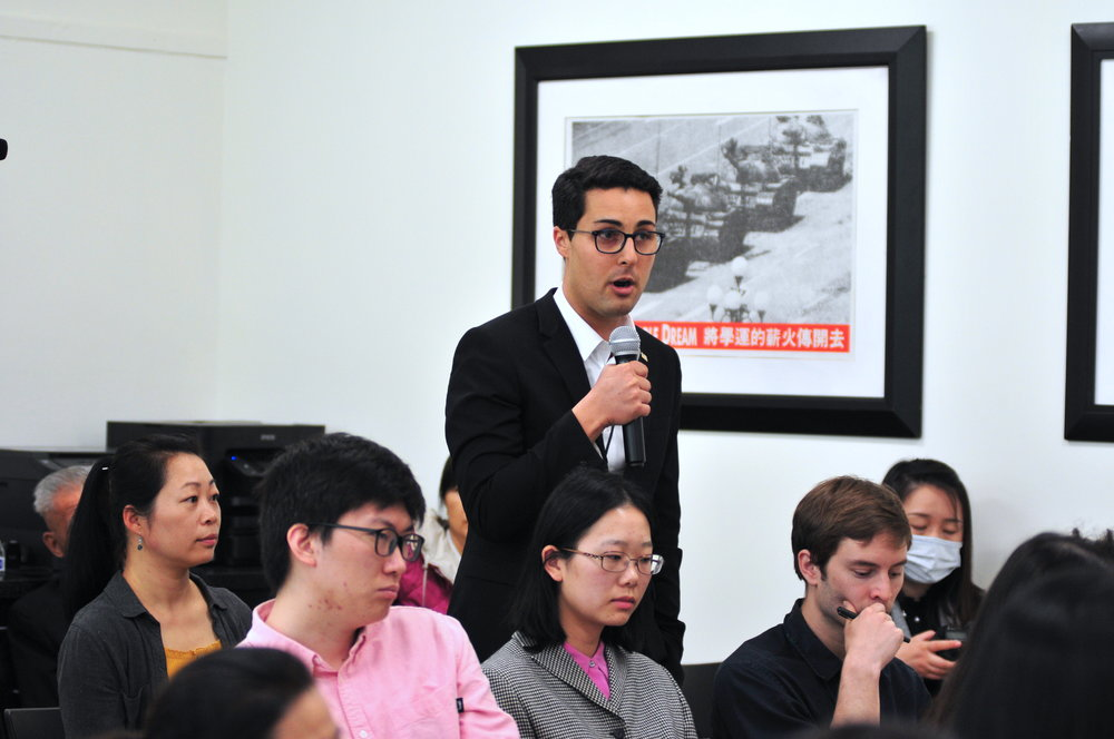 Kyle Olbert, director of operations of the  East Turkistan National Awakening Movement  at the  Citizen Power Initiatives for China  in Washington on April 22, 2019 (Lynn Lin/The Epoch Times)