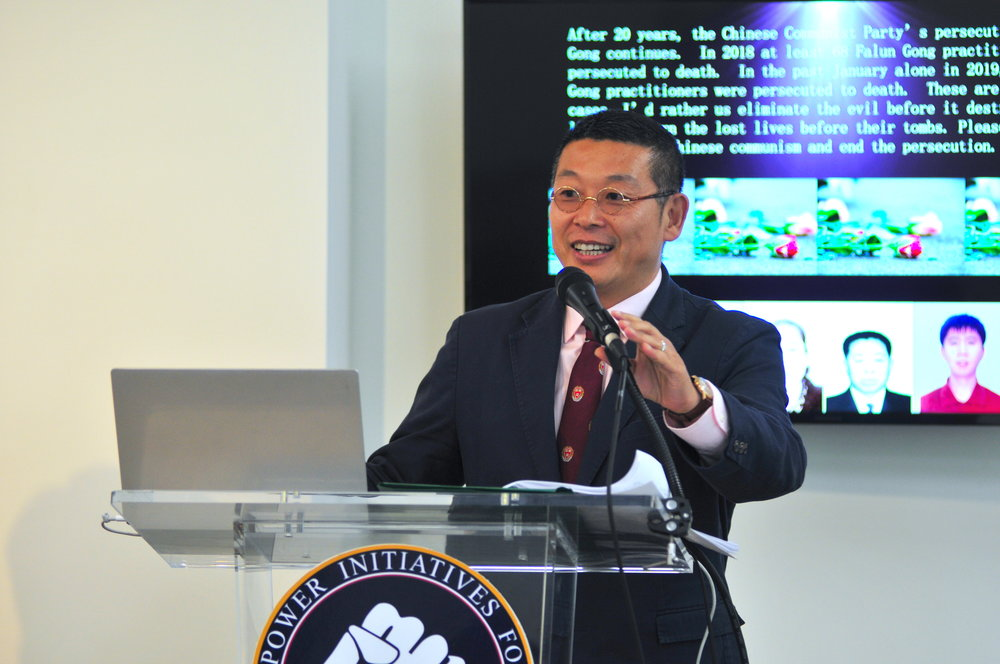 Yang Jianli, president of  Citizen Power Initiatives for China , speaks at the  Citizen Power Initiatives for China  in Washington on April 22, 2019 (Lynn Lin/The Epoch Times)