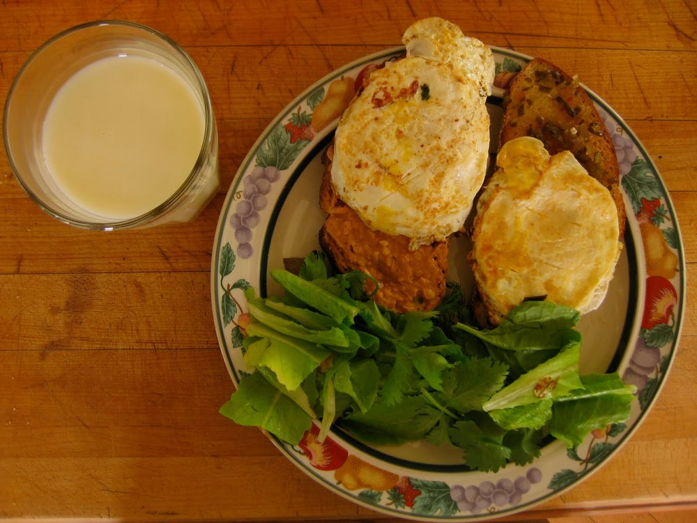 and the finished product, with the greenhouse salad and the local milk