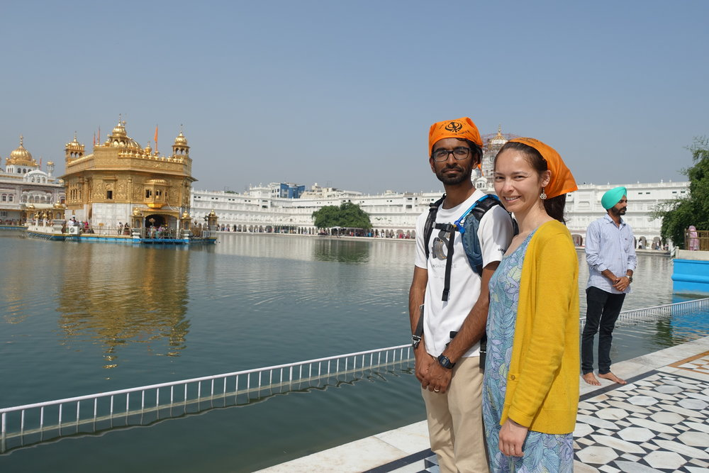 At the Golden Temple, one should cover their head and not show their back to the temple, which makes for slightly awkward photos. Alas.