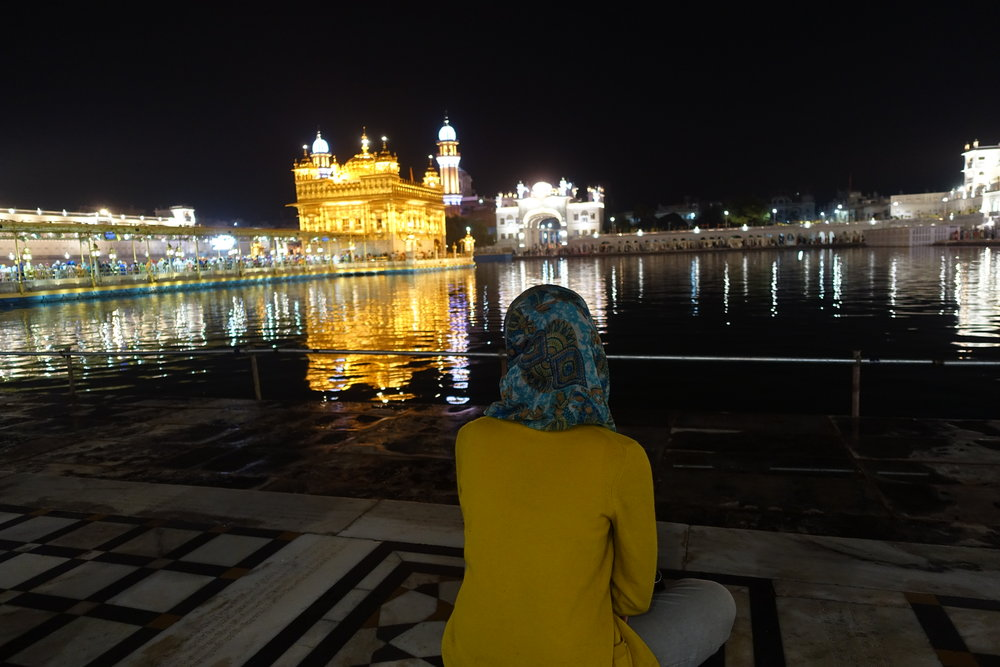 We visited the Golden Temple around 4 am one day, and this time we went inside. The lines were shorter because the holy book (Guru Granth Sahib) enters the temple a little later.