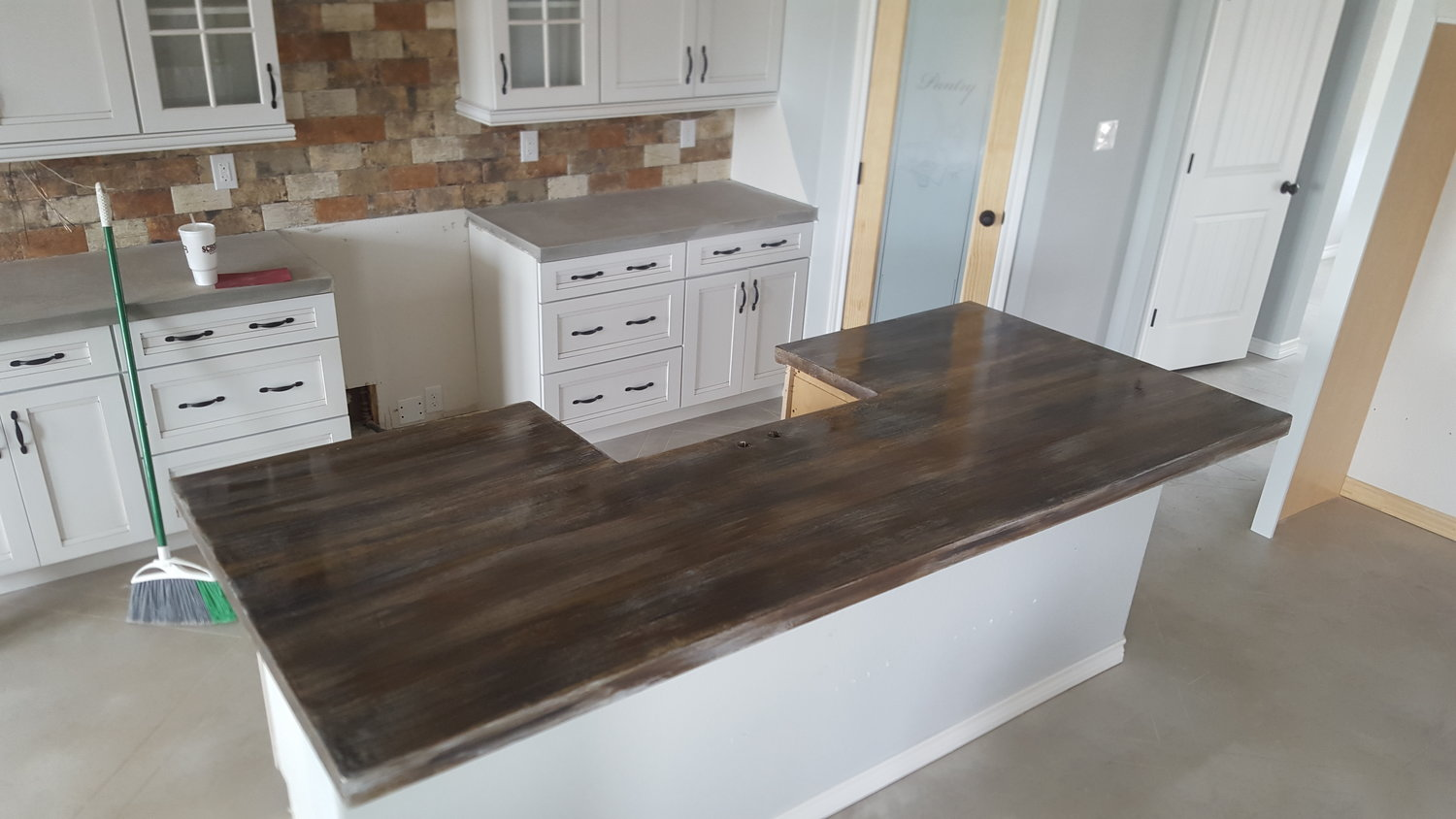 concrete countertops stain and stamp