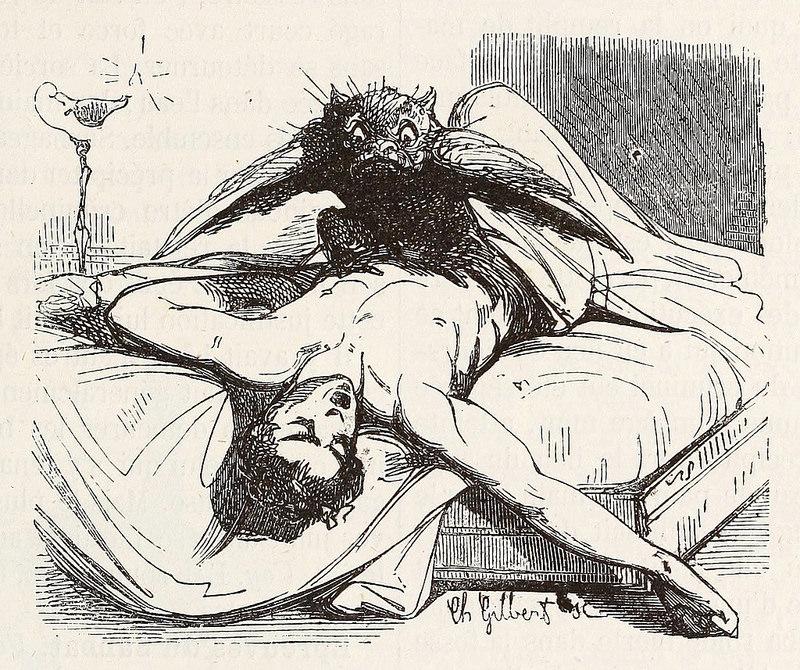 Ephialtes,  de la edición de 1863 del  Dictionnaire infernal  de Collin de Plancy.