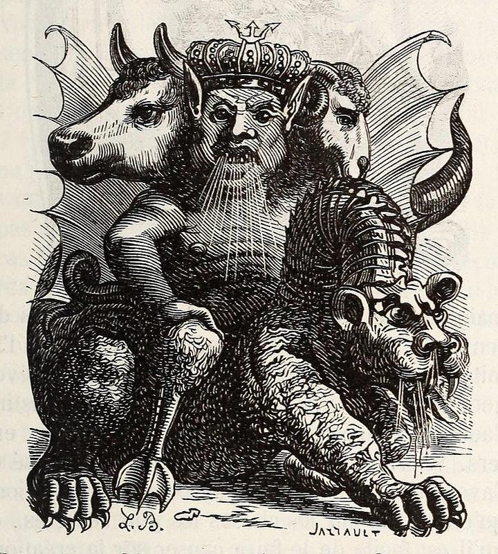 Asmodeo, de la edición de 1863 del  Dictionnaire infernal  de Collin de Plancy.