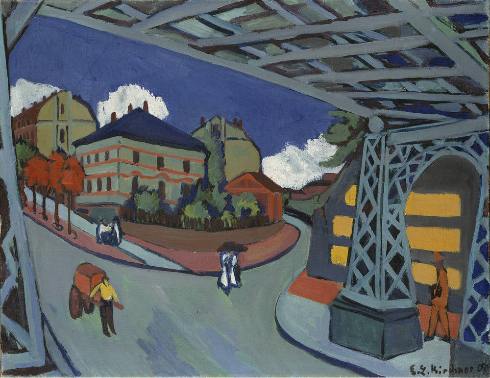 Puente del tren en la calle Lobtauer, Dresden, de Ernst Ludwig Kirchner, 1910-1926