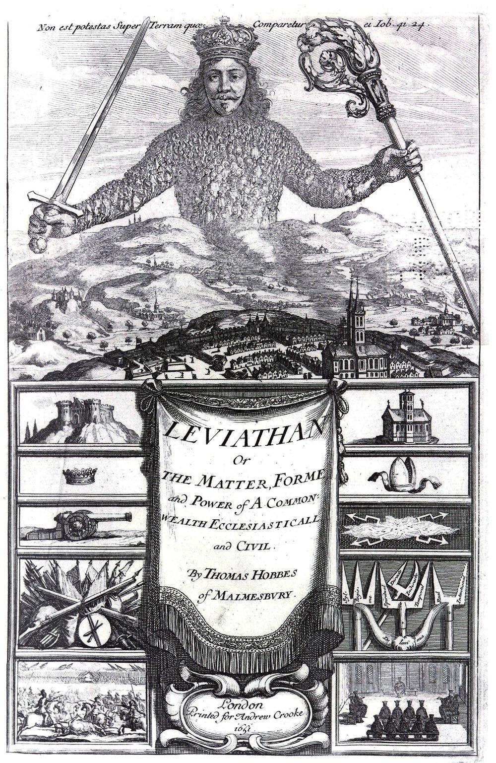 Frontispicio del  Leviathan  de Thomas Hobbes (1651)