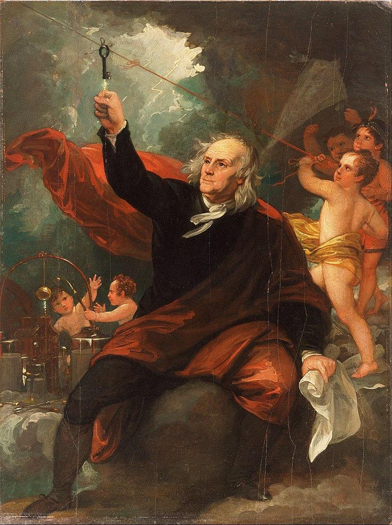 Benjamin Franklin trae la electricidad del cielo,  de Benjamin West, c. 1816