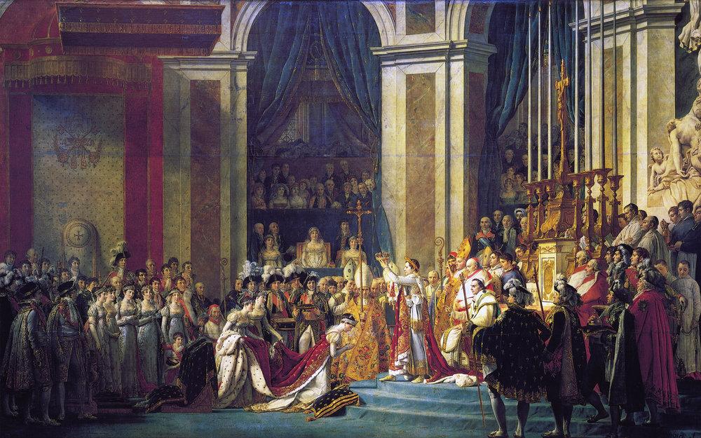 Consagración del emperador Napoleón I y coronación de la emperatriz Josefina en la Catedral de  Notre-Dame  de París el 2 de diciembre de 1804, de Jacques-Louis David, 1805-1807