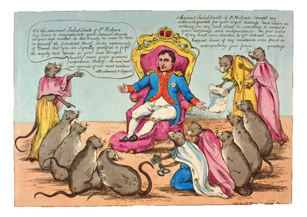 ¡¡Los habitantes de Santa Helena reciben a su nuevo gobernador!!, de William McCleary, c.1815, aguafuerte coloreada.Montreal, McGill University Library and Archives, Rare Books and Special Collections