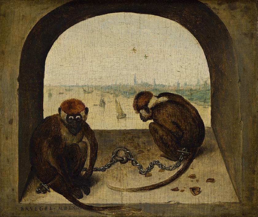 Dos monos encadenados, de Pieter Bruegel el Viejo, 1562