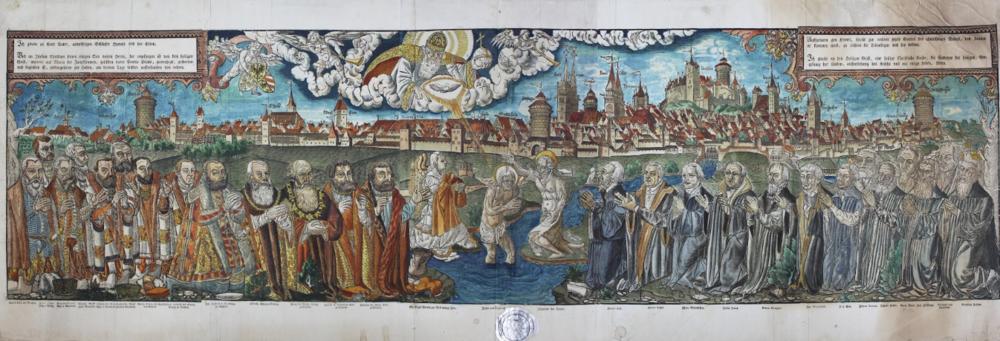 Líderes de la Reforma, con la ciudad de Núremberg al fondo, autor desconocido, 1559