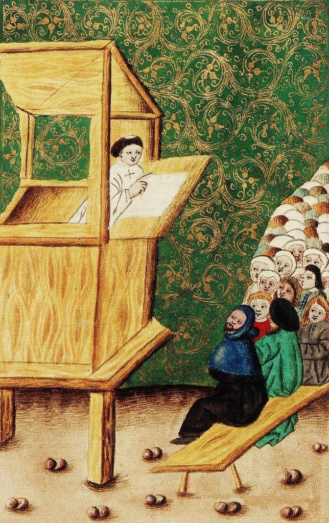 Jan Hus predicando, Códice Jenský, autor desconocido,  circa  1490