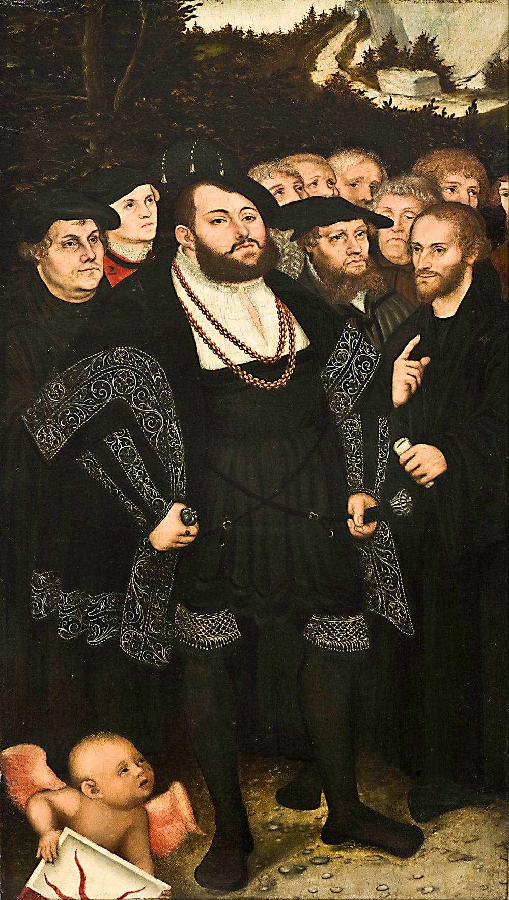 Martín Lutero y los reformadores de Wittenberg, de Lucas Cranach el Joven, circa  1543
