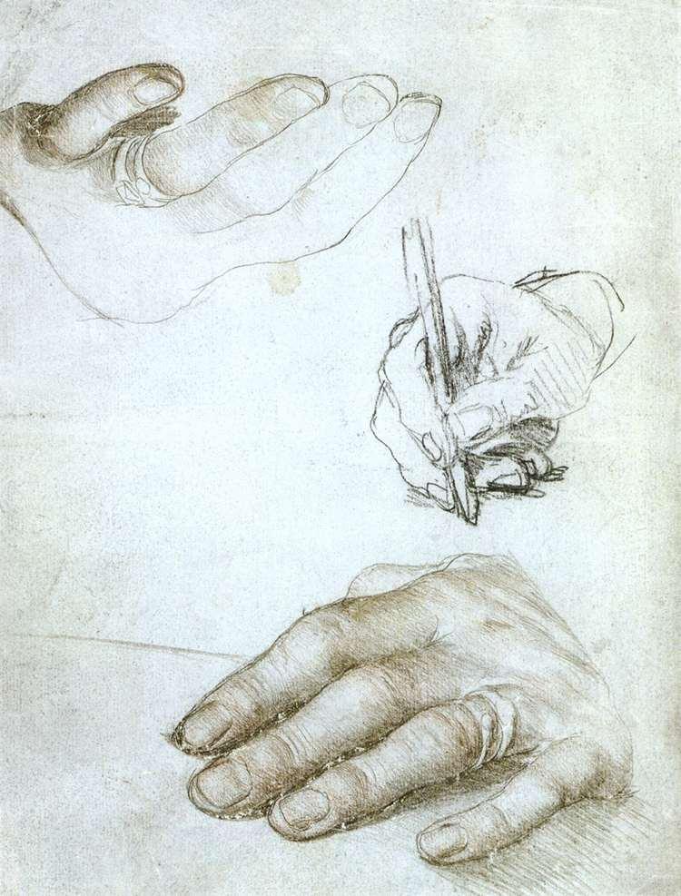 Estudio de las manos de Erasmo, de Hans Holbein,  circa  1523