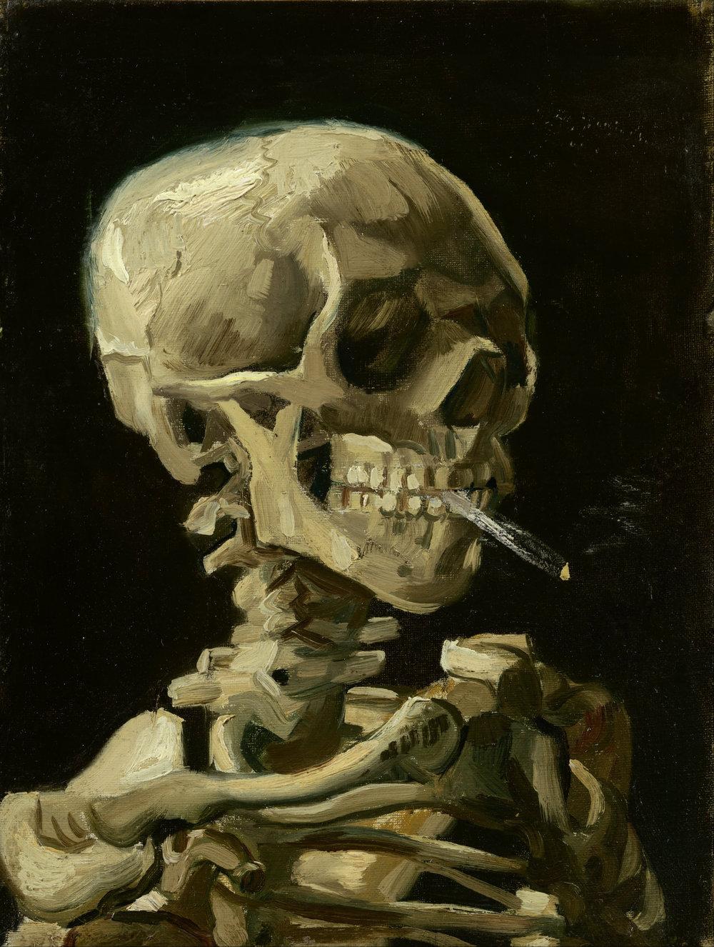 Cabeza de un esqueleto con cigarrillo encendido, de Vincent Van Gogh, 1886