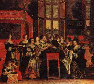 Conversation de dames en l'absence de leurs maris: le diner, de Abraham Bosse, siglo XVII