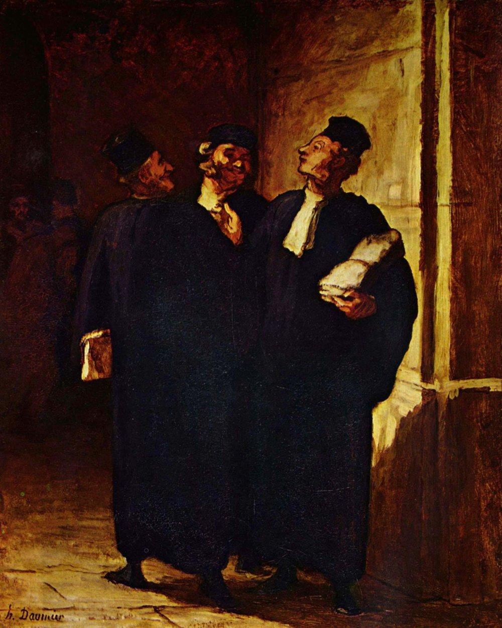 Tres abogados conversando, de Honoré Daumier, 1843-1848