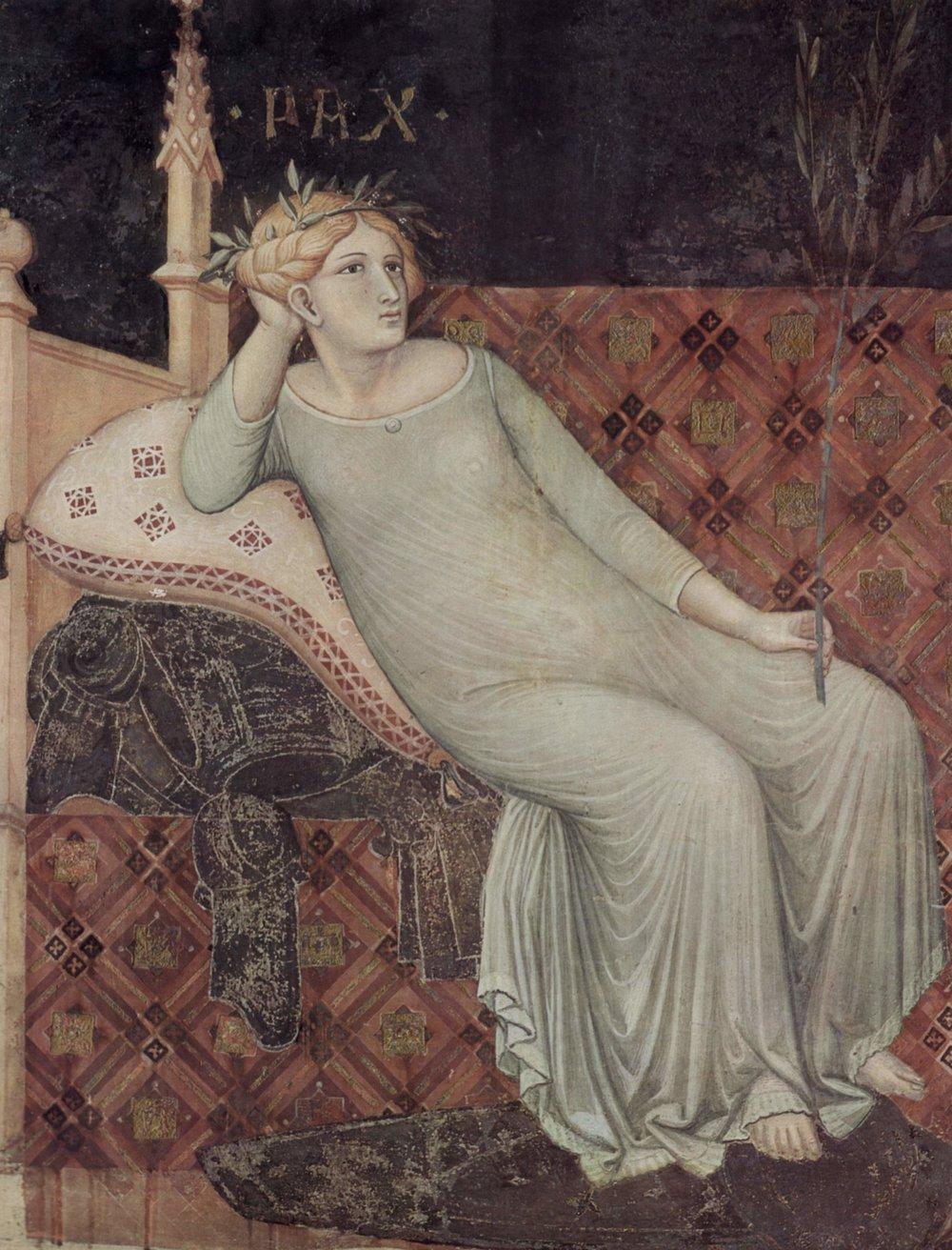 Paz (detalle de  El Buen gobierno), de Ambrogio Lorenzetti, 1338-1340
