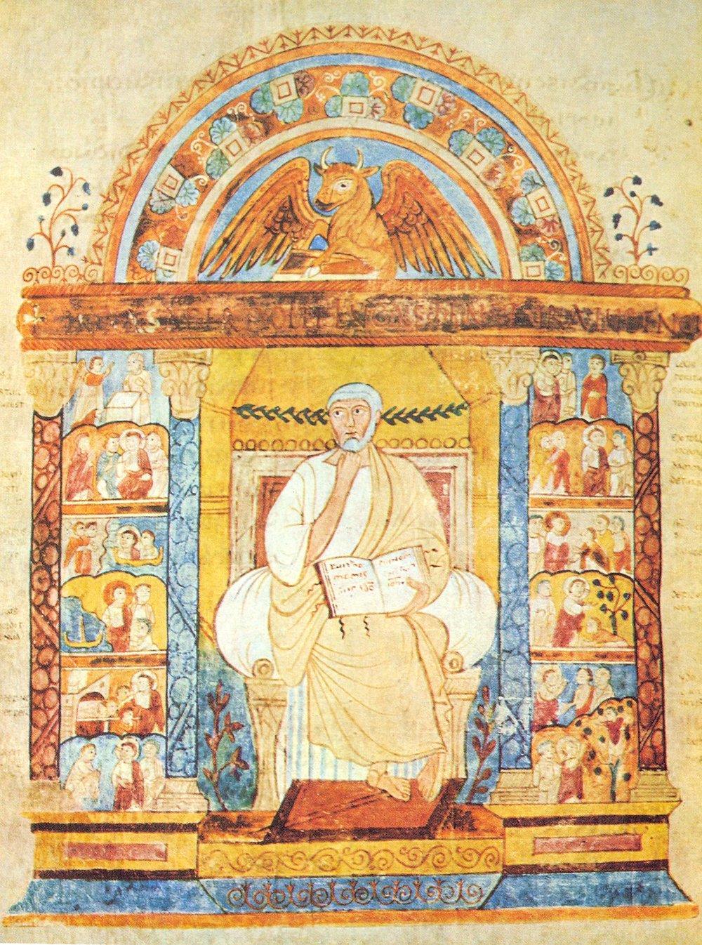 Ilustración del  Evangeliario de San Agustín de Canterbury, anónimo, finales del siglo VI