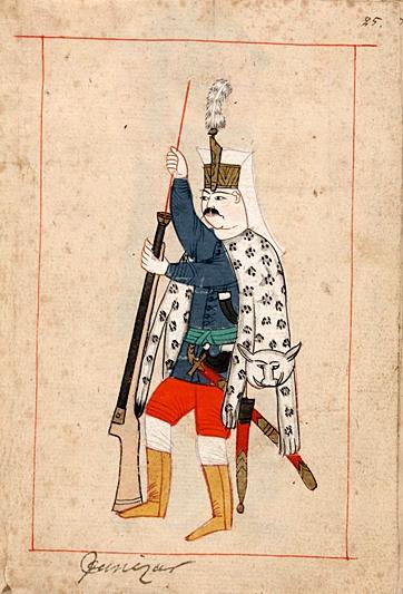 Ilustración de un jenízaro, anónimo, primera mitad del siglo XVII