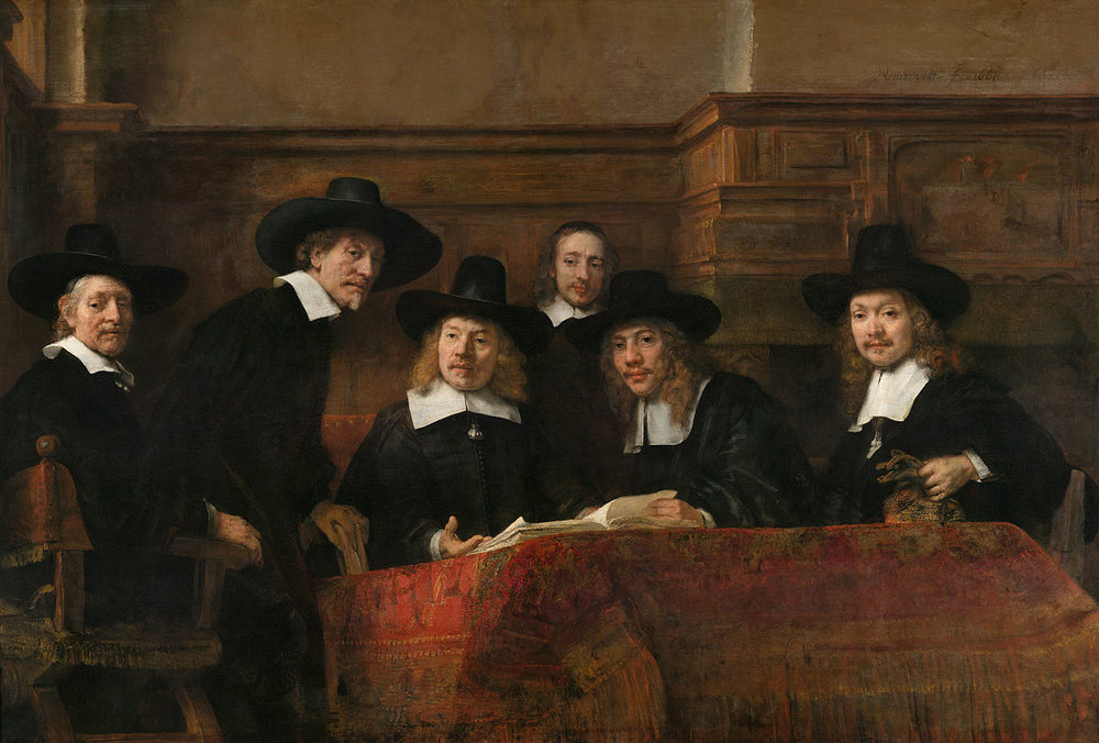 Los síndicos del gremio de los pañeros, de Rembrandt, 1662