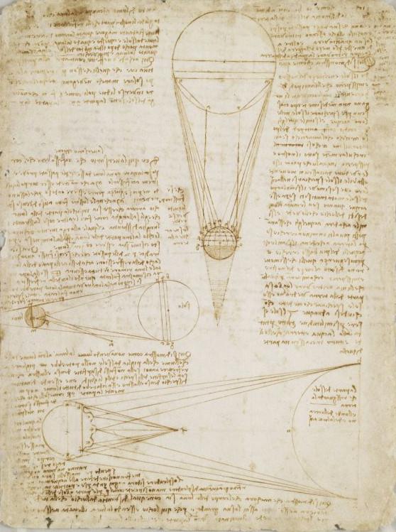 Página del  Códex Leicester,  de Leonardo Da Vinci, c. 1500