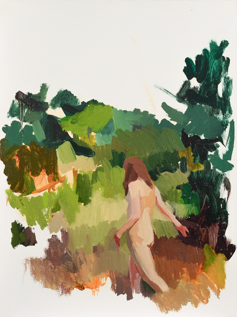 """Figure in a Landscape,   Oil on Paper, 12"""" x 16,"""" 2014.  Private Collection."""