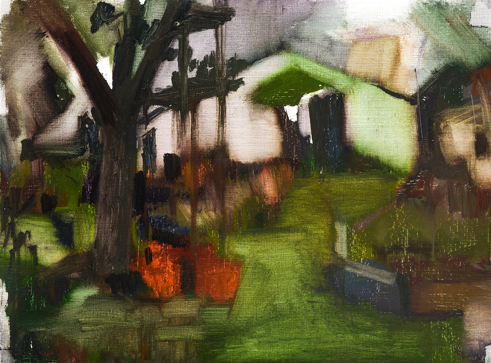 """Cottage on the Hill  , Oil on Paper, 12"""" x 16,"""" 2014.  Private Collection."""