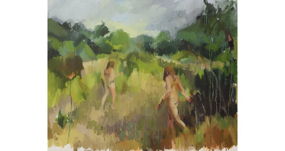 "Two Figures in a Landscape, Oil on Canvas, 22"" x 27,"" 2014, Available for Purchase"