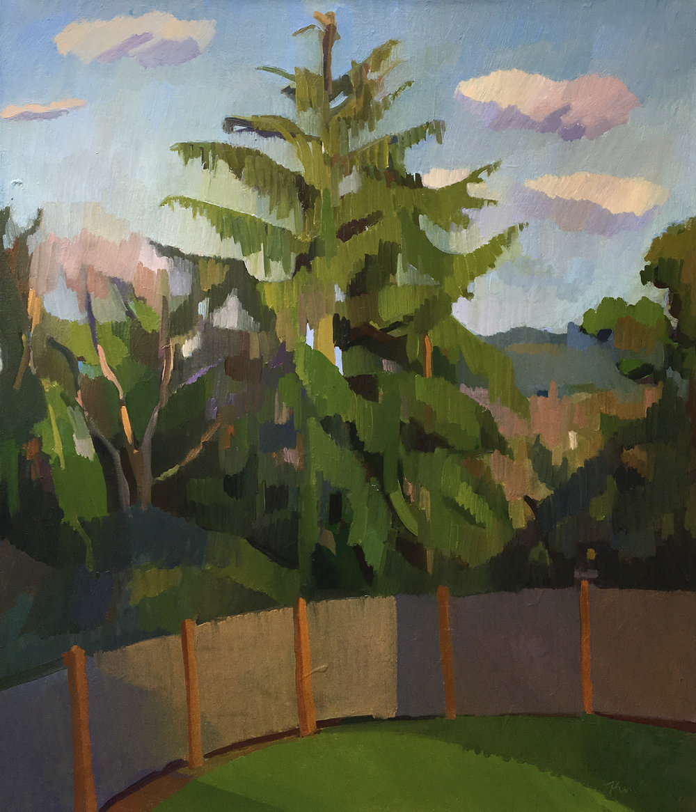 "Backyard Hemlock  , Oil on Canvas, 22"" x 26,"" 2018.  Private Collection."