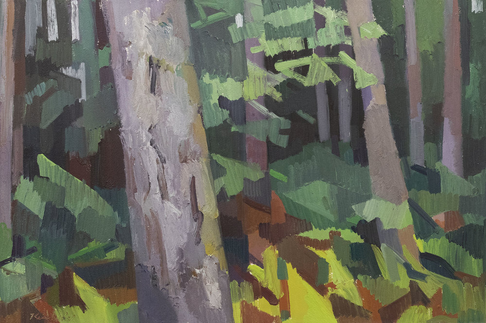 "Forest at Twilight (purple)  , Oil on Paper, 16"" x 24,"" 2018.  Private Collection."