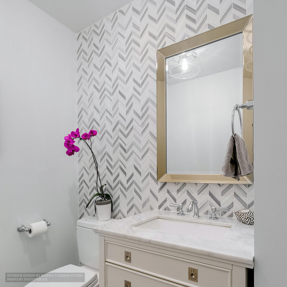 Powder room vanity and mirror