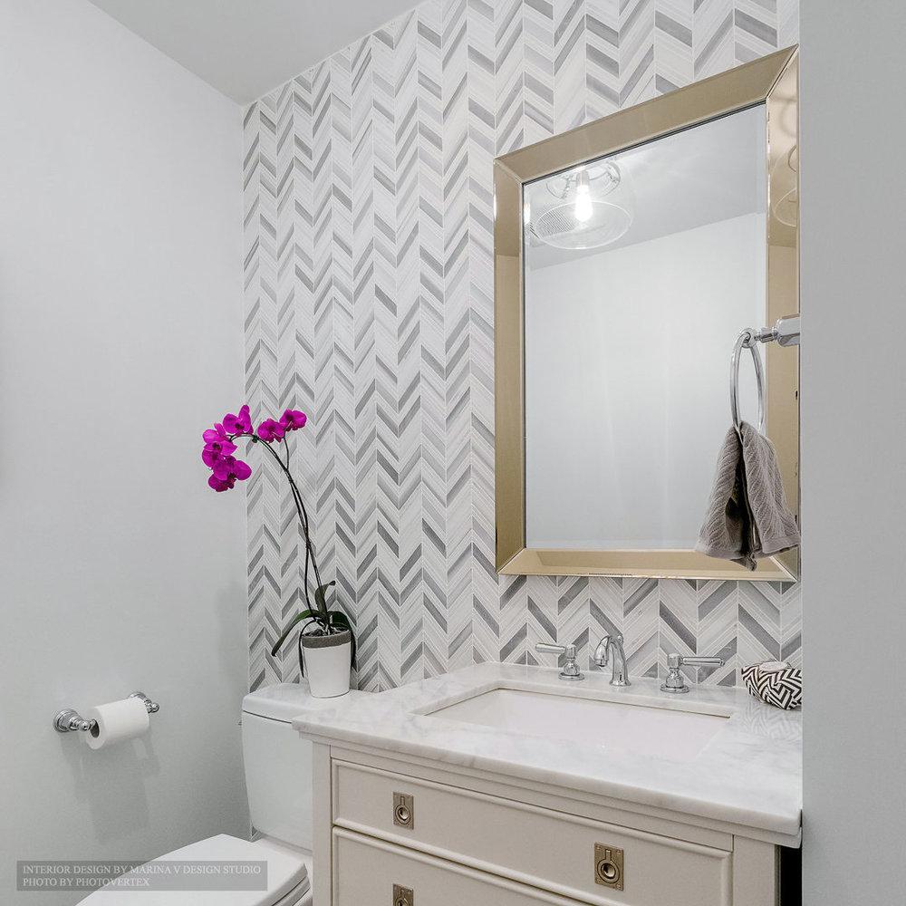 Powder room vanity and mirror