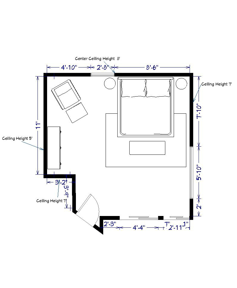 the layout - A lot of people have been mentioning how big the room looks. I really wanted to share the dimensions of this room along with my furniture layout plan so that you can easily understand the space. The king size bed will be set in front of the solid wall to have command position as recommended in Feng Shui. Because of the window positioning it does not allow for a large nightstand so I will be selecting a smaller piece to make sure the window is not covered by a part of the bed and that both sides have nightstands which is another Feng Shui must.