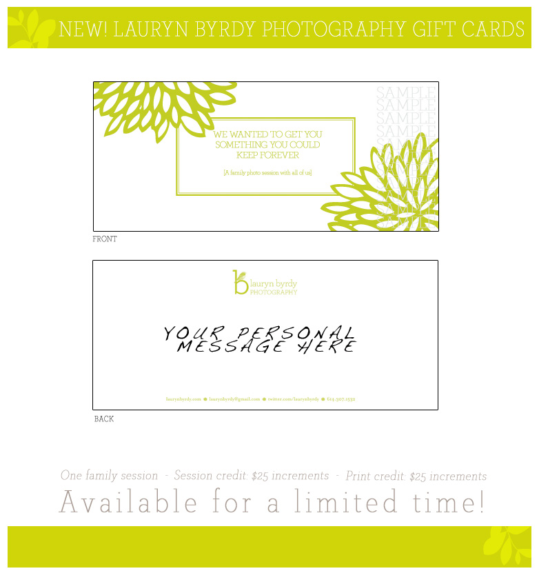 Gift Cards for Lauryn Byrdy Photography!