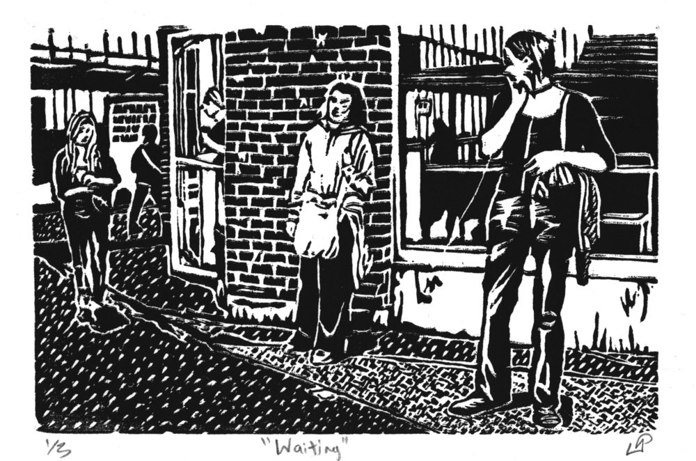 """Waiting"" with Kathleen Springer, Disability Memory Series, Hand-printed Woodcut (2011)"