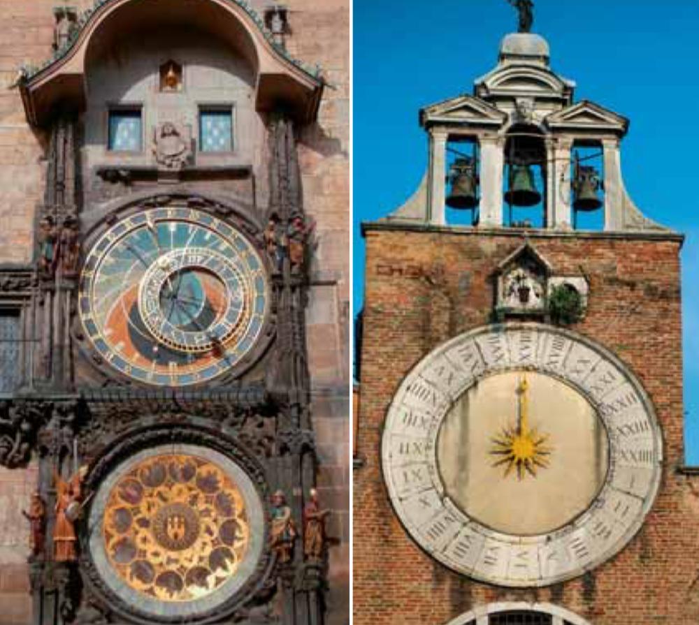 A gauche, l'horloge astronomique de Prague avec ses deux cadrans truffés d'informations. A droite, une horloge vénitienne indiquant les heures solaires sur un cadran de 24 avec le soleil au centre. A remarquer les quatre traits des 4 en chiffres romains.