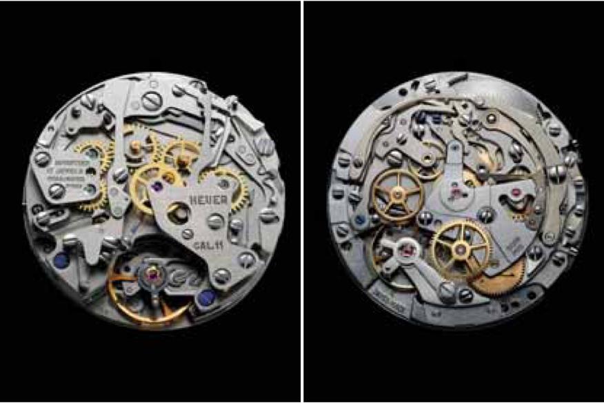 Deux mouvements chronographes automatiques entrés dans l'histoire en 1969, le Calibre 11 et El Primero (ici sans leur masse oscillante).