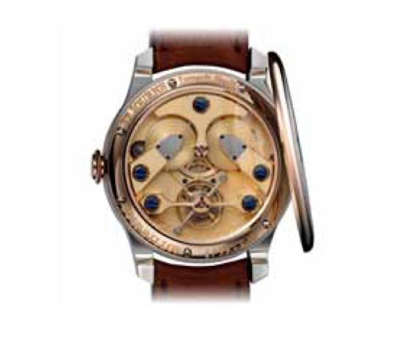 Modèle de montre-bracelet directement inspiré du premier tourbillon réalisé par François-Paul il y a trente ans en montre de poche.