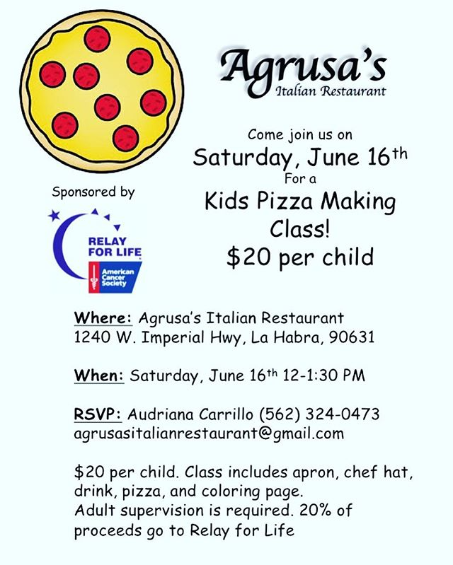 June 16th is our children's pizza making class! Come join us! Reservations required, and 20% of proceeds go to Relay for Life!