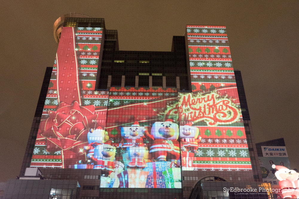 The new CGI Christmas show projected onto city hall. f.4.5, ISO 1600, 1/3, 19mm