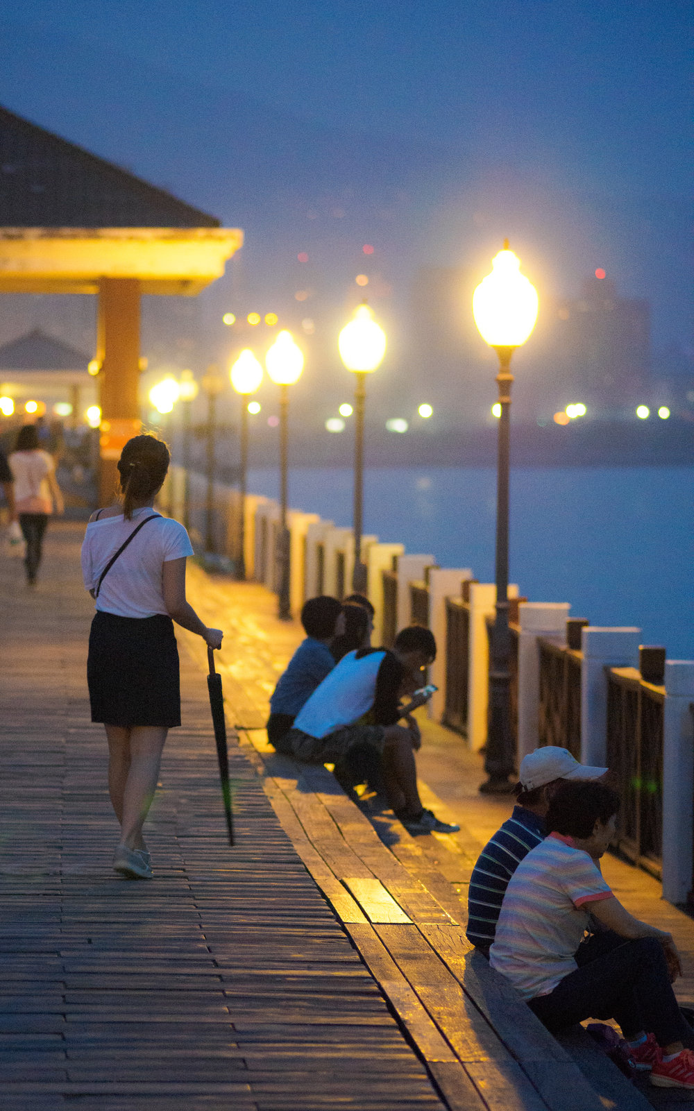 the wharf on a summer evening. f1.8, ISO 3200, 1/30, 150mm
