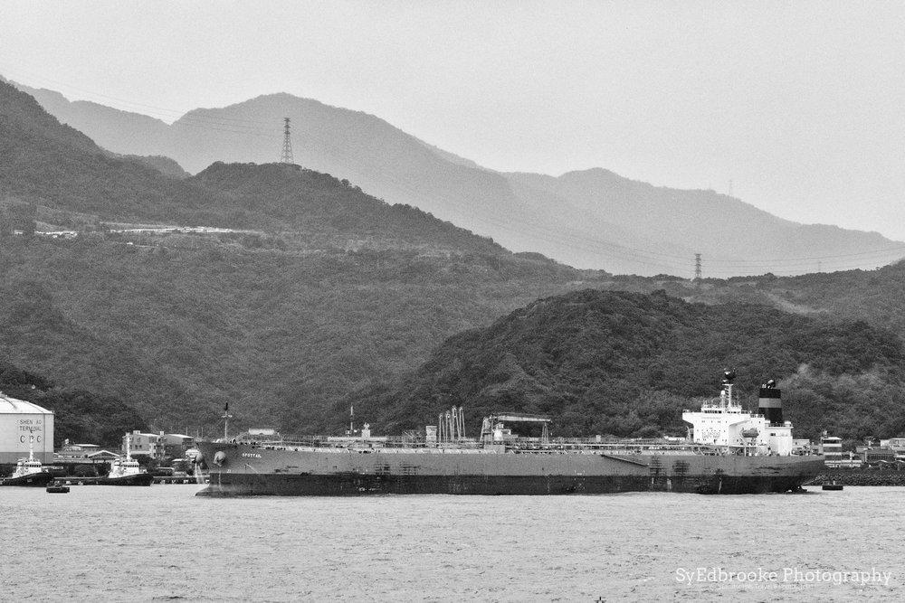 docked tanker in the bay. f11, ISO 1600, 1/30, 150mm